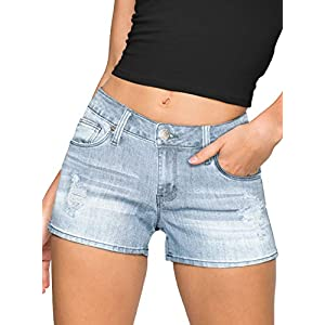HyBrid & Company Womens 3″ Reg/5″ Plus Inseam Butt Lifting Stretch Twill/Denim Shorts