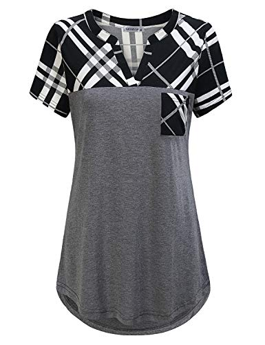 (MOQIVGI Tunic Shirts for Women Short Sleeve,Plaid Patchwork Dressy Loose Aline Flattering Tops Stylish Grid Pattern V Neck Drapey Blouse with Pocket Casual Boutique Clothing Grey X-Large)