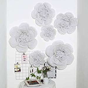"""Tableclothsfactory 6 Pack White Assorted Size Giant Paper Peony Flowers Decor for Centerpieces Arrangement - 12"""" 