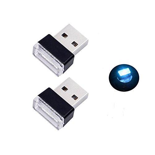 Bello Luna 2Pcs USB Car Interior Ambient Lamp for Car Notebook Power Bank - Ice ()