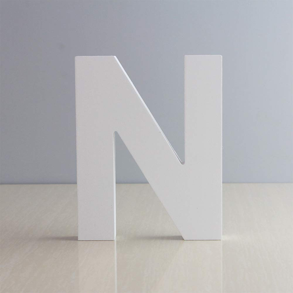 """5.9"""" DIY White Wall Wood Letters, 26 Wooden Alphabet Wall Letter Number Words for Children's Nursery Baby's Room, Girls Bedroom,Wedding Birthday Party Home Decor (N)"""