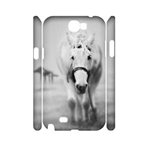 3D Samsung Galaxy Note 2 Case Ghostly Horse, Vety, [White]