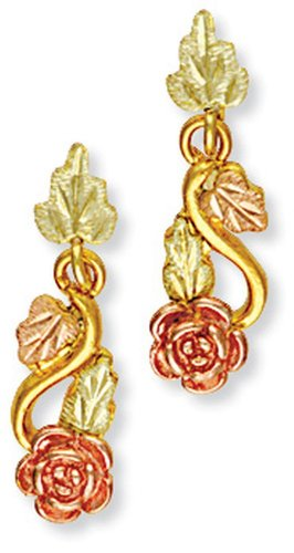 Landstroms 10k Black Hills Gold Rose Earrings and Leaves for Pierced Ears - - Gold Black Hills Set Jewelry