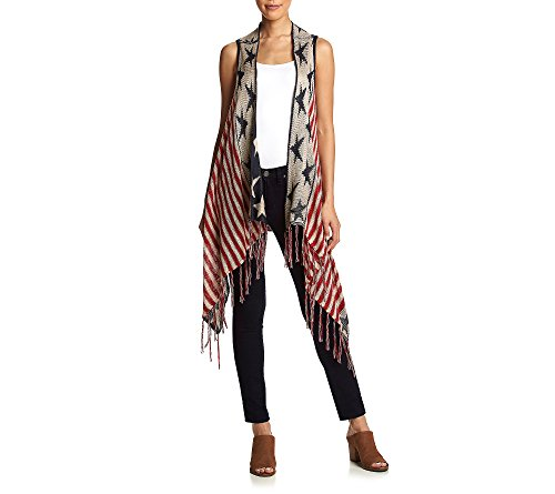 OneWorld Women's Sleeveless Stars and Stripes Patriotic Sweater Vest with Fringe, Vintage Americana, S