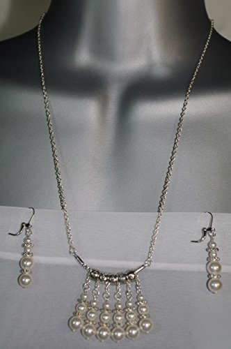 QUIVER OF PEARLS Pendant Set, Swarovski white pearls, silver plated brass chain