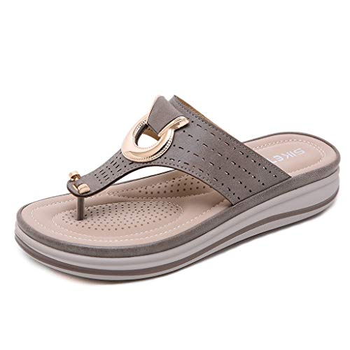 ANJUNIE Women Sequin Flops Flip Ladies Metal Wedges Sandals Beach Slipper Shoes Outdoor (2-Khaki,40) (Tan Sexy 3' Heel)