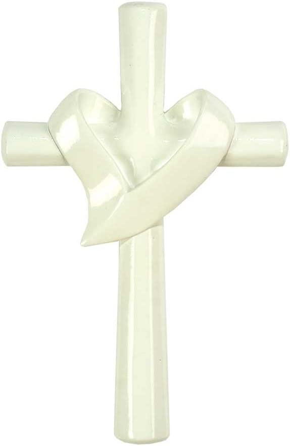 Dicksons Open Heart White 8 Inch Resin Decorative Hanging Wall Cross