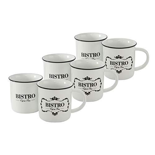 WHW Whole House Worlds Bistro, Cafe De Paris, 6 Piece Mug Set, Black and White, 13.5 Fluid Ounces (400ml) Porcelain,