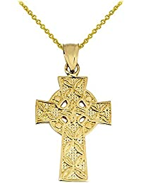 Solid 10k Yellow Gold Irish Celtic Cross Trinity Pendant Necklace