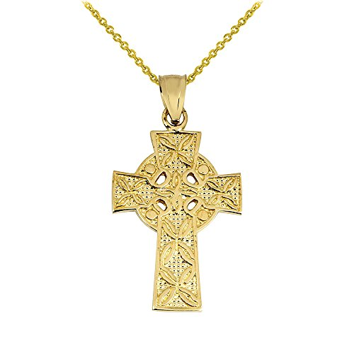 Solid 10k Yellow Gold Irish Celtic Cross Trinity Pendant Necklace, 16