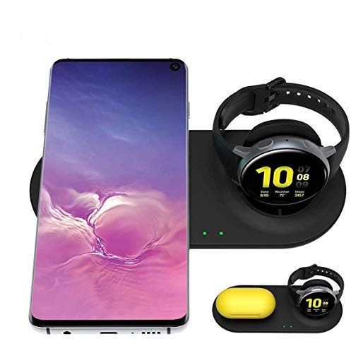 Aimtel Dual Wireless Charger,Qi 2 in 1 Wireless Charger Duo Charging Station Compatible for Samsung Galaxy Watch and Phone/Buds(+, Live)/Airpods Pro/iPhone and Other Qi-Enabled Phone