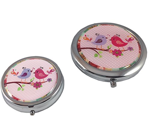 Pretty Little Birdies Magnifying Makeup Mirror Compact and Pill Case Gift -