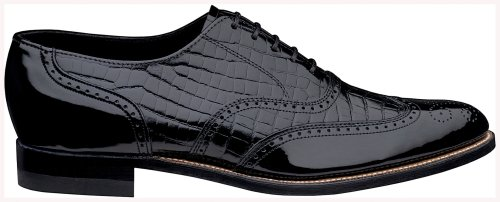 Mens-Stacy-Adams-Alligator-Print-Dayton-Wing-Tips-Black