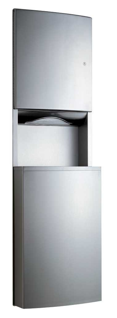 Bobrick 43944 ConturaSeries 304 Stainless Steel Recessed Paper Towel Dispenser and Waste Receptacle, Satin Finish, 17-7/16'' Width x 56-1/4'' Height