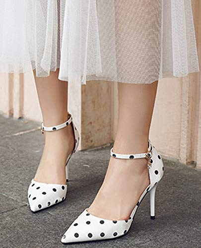 9cm Pois Blanc Escarpins Bride Evénement Haut Aisun Femme Cheville Mignon Talon 0H60pSwq