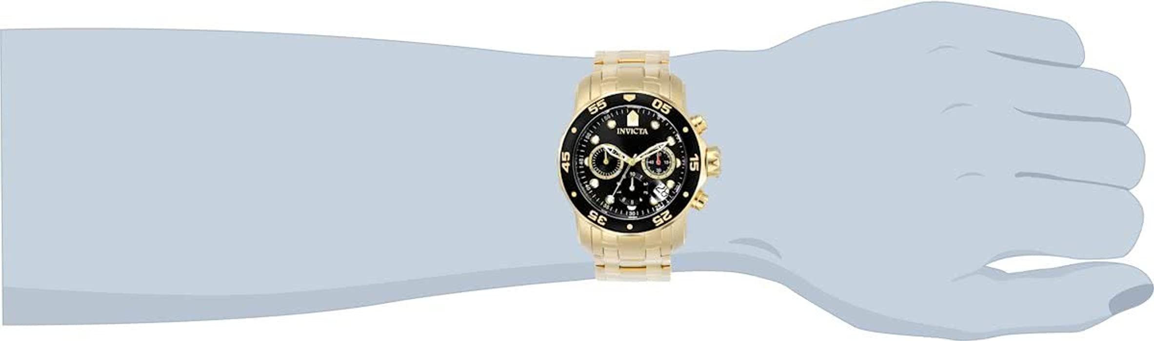 Invicta Men 0072 Pro Diver Collection Chronograph 18k GoldPlated Watch GoldBlack