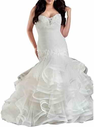 f397cd29975c9 Chady Strapless Lace Mermaid Wedding Dresses 2019 Plus Size Ruffles Organza  Backless Ball Gown Wedding Dresses