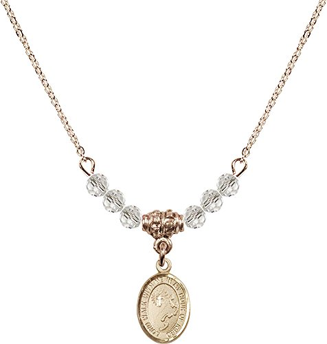 18-Inch Hamilton Gold Plated Necklace with 4mm Crystal Birthstone Beads and Gold Filled Footprints / Cross Charm.