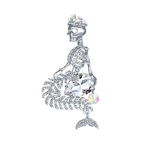 EVER FAITH Women's Austrian Crystal Halloween Mermaid Skull Crown Teardrop Brooch Clear Silver-Tone