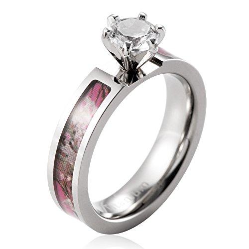 SHARDON Women's 5mm Titanium Pink Tree Camouflage Engagement Ring With Prong Setting Brilliant White CZ Stone Size 10 (Camouflage Ring)