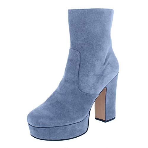 Avec Les Filles Womens Lianna Suede Heels Ankle Boots Gray 6 Medium (B,M)