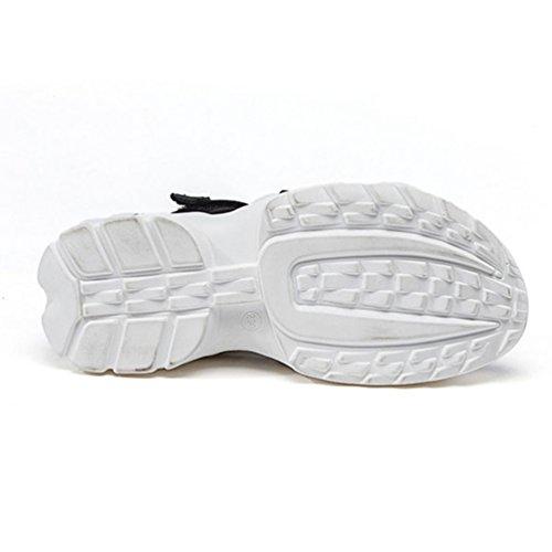 Femme Loisir Sandales Noir Tissu Plateforme Talon Antidérapantes de Sports élastique Chaussures Eqqw1THP