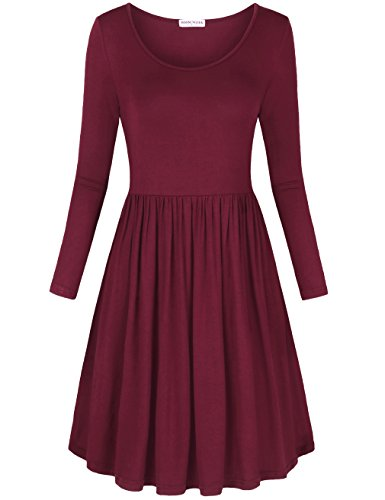 MOOSUNGEEK Women Shirt Dress, Empire Waist Autumn Knitted Casual Tunics Dress - Knitted Tunic Dress