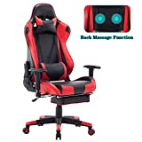 HEALGEN Back Massage Gaming Chair with Footrest,PC Computer Video Game Racing Gamer Chair High Back Reclining Executive Ergonomic Office Desk Chair with Headrest Lumbar Support Cushion GM002 (Red)