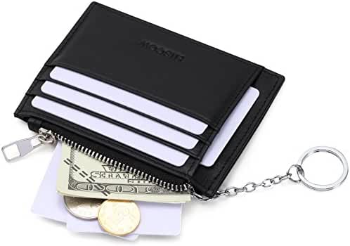 HISCOW Card Wallet with 1 Keychain and 8 Credit Card Slots - Italian Calfskin