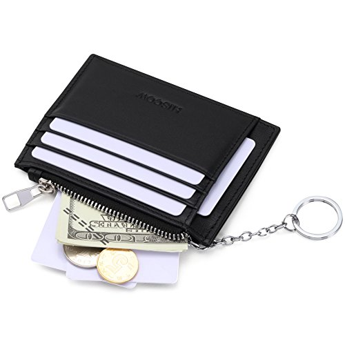 (HISCOW Card Wallet with 1 Keychain and 8 Credit Card Slots - Italian Calfskin )