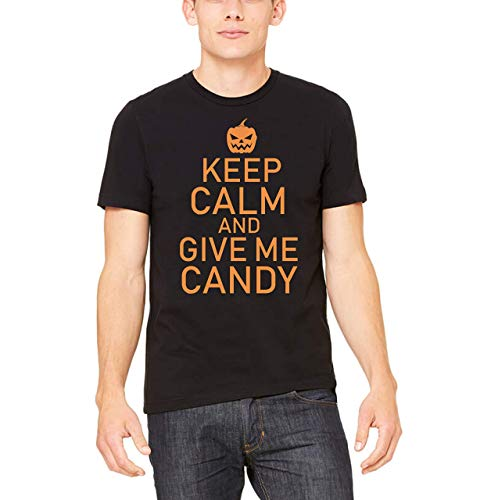 (Keep Calm And Give Me Candy Funny Halloween Crew Neck Tee Shirts, Costume Gift)