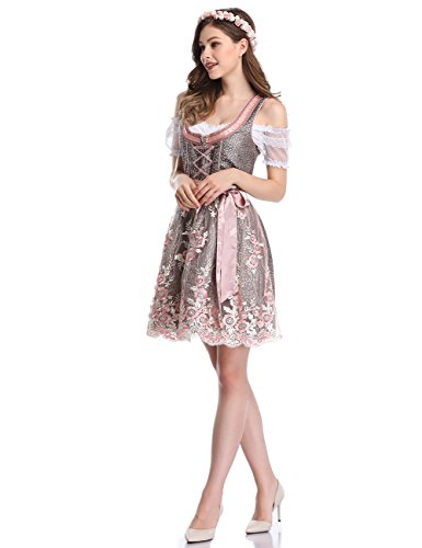 Robe Dirndl Femmes Clearlove 3 Pcs Carnaval Allemand Traditionnel Costumes Munich Rose Bavarian
