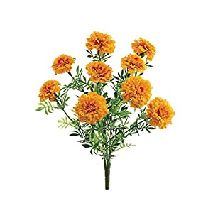 Afloral Silk Marigold Bush in Yellow Orange – 13″ Tall