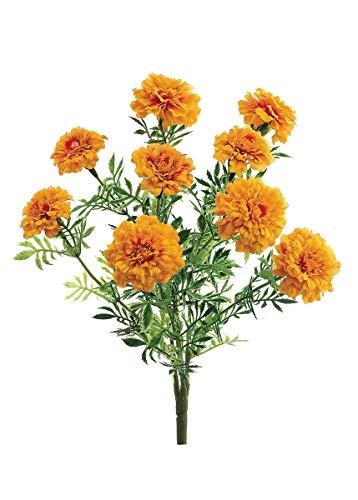 Afloral Silk Marigold Bush in Yellow Orange - 13