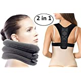 Zervikal Neck Traction Device and Back Posture Corrector, Shoulder and Neck Pain Relief, Neck Stretcher Collar for Home Traction Spine Alignment