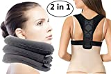 Cervical Neck Traction Device and Back Posture Corrector, Shoulder and Neck Pain Relief, Neck Stretcher Collar for Home Traction Spine Alignment