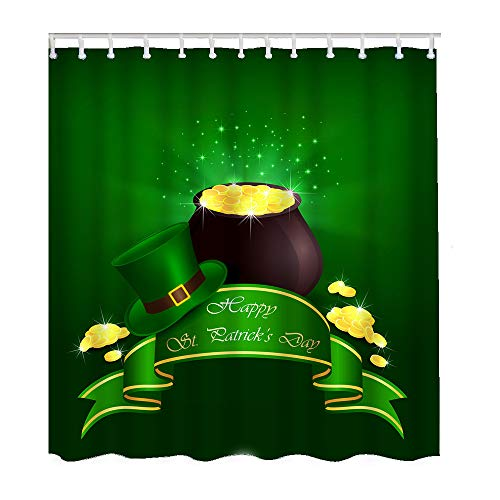 Moslion Shamrock Bathroom Shower Curtain Set Hat Pot Gold Coin Ribbon for St Patrick's Day Shower Curtains Home Decorative Waterproof Polyester Fabric Hooks 66x72 Inch -  SHOWERCAWDH-A1152