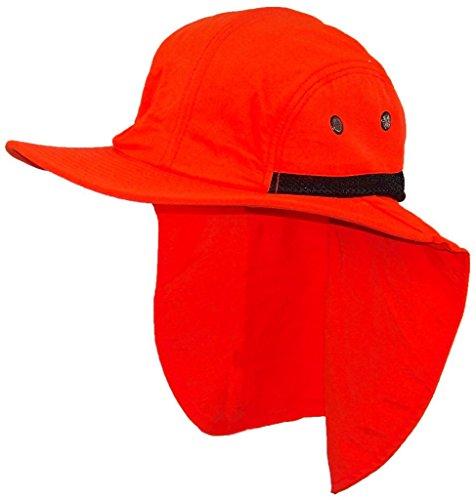 Flap Hats Stone - Stone Age Men/Women Wide Brim Summer Hat with Neck Flap (One Size) - Neon Orange