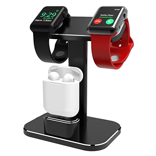 (DHOUEA Compatible 2 in 1 Watch Stand Replacement for Apple Watch iWatch Charging Dock Station Stand Holder Aluminum Airpods Stand for Apple Watch Series 4 3 2 1 (38mm or 42mm) Airpods (Black) )