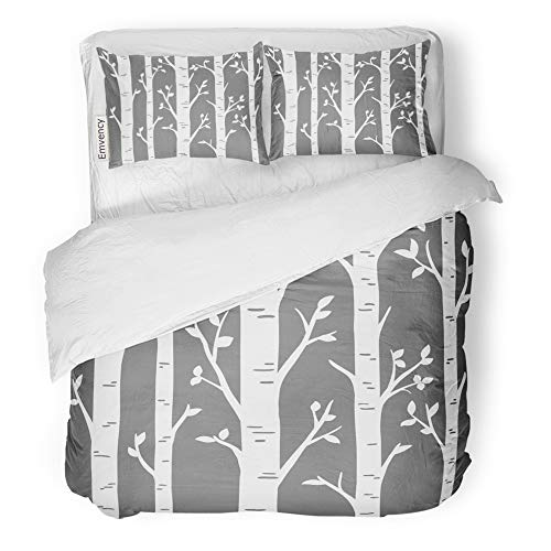 Emvency 3 Piece Duvet Cover Set Brushed Microfiber Fabric Breathable Birch Grove Aspen Trees Leaves of Laser Cut Pattern Suitable for Cutting Bedding Set with 2 Pillow Covers Twin Size