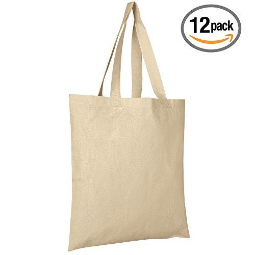 12 Per Pack Natural Canvas Tote Bag - 15