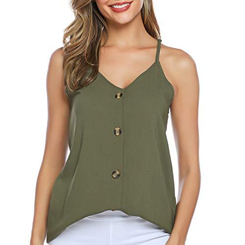 EyonMe Women's Tank Tops Summer Sleeveless Shirts - Casual V Neck Strappy Button Down Loose Beach Cami Top Blouses Green