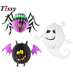 Craft Lanterns Lanterns Craft 1PC 3Styles DIY Halloween Lantern Pendant Ornaments Ghost&Bat&Spider Paper Lanterns For Halloween Party (Random)