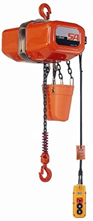 Elephant Lifting SA Series SA-050-10 1-Phase Electric Chain Hoist, Single Speed, 1100 lbs Capacity, 10' Lift , 13.5 fpm Lift Speed, 0.61 HP, 115V/60Hz