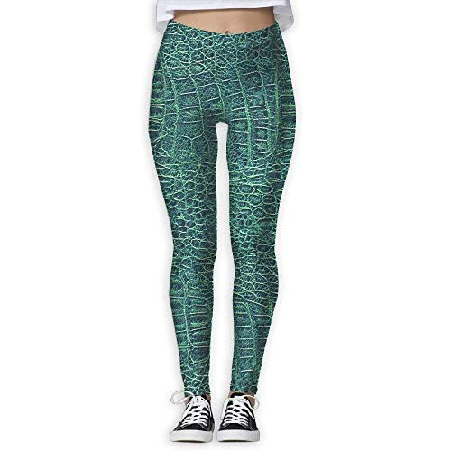 (Alligator Skin Seamless Green Texture High Waist Skinny Leggings Yoga Jogger Sweatpants Full Print X-Large)