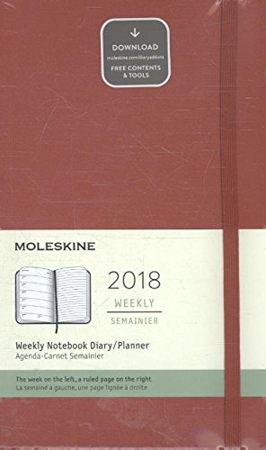 Calendario semanal, de Moleskine, 12 meses, 2018, tapa dura, color Scarlet Red Large