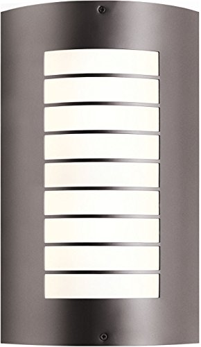 Kichler Lighting 6048AZ Newport 2LT 15IN Exterior Wall Mount, Architectural Bronze Finish with White Acrylic Diffuser