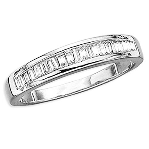 KATARINA 14K White Gold 1/10 ct. Baguette Cut Diamond Bridal Wedding Band