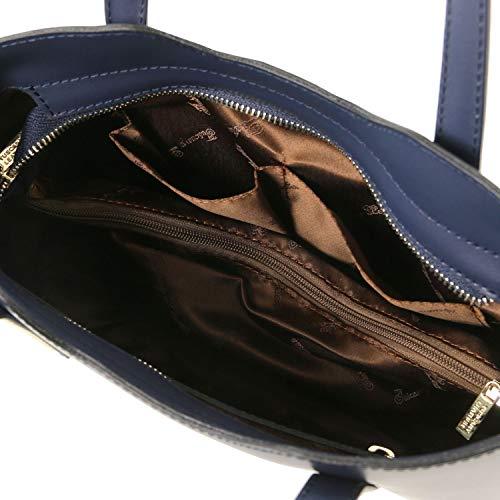 Sac à main en cuir Olimpia en cuir Toscane - Petite mesure Magenta Bleu foncé