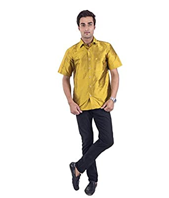 yellow silk shirt mens